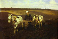 Leo Tolstoy is on a ploughed field (Repin, 1891)