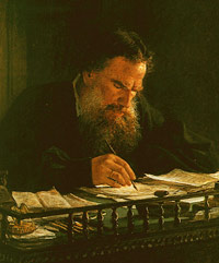 Leo Tolstoy working - picture by Nikoly Ge (1884)