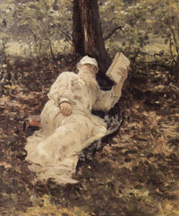 Tolstoy is resting in a wood (Repin, 1891)